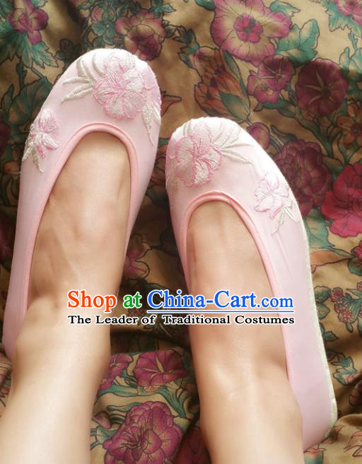 Asian Chinese National Embroidery Pink Cloth Shoes, Traditional China Princess Handmade Embroidered Shoes Hanfu Shoe for Women