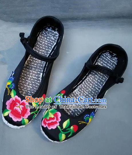 Asian Chinese National Black Embroidered Shoes, Traditional China Princess Handmade Shoes Hanfu Embroidery Peony Shoe for Women