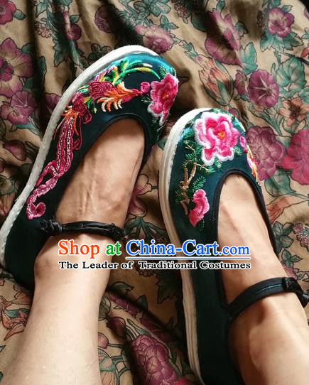 Asian Chinese National Embroidered Shoes, Traditional China Handmade Shoes Hanfu Embroidery Phoenix Peony Green Shoe for Women