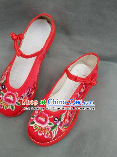Asian Chinese National Wedding Red Embroidered Shoes, Traditional China Handmade Shoes Hanfu Embroidery Peony Shoes for Women