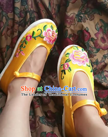 Asian Chinese National Wedding Yellow Melaleuca Embroidered Shoes, Traditional China Handmade Shoes Hanfu Embroidery Peony Shoes for Women