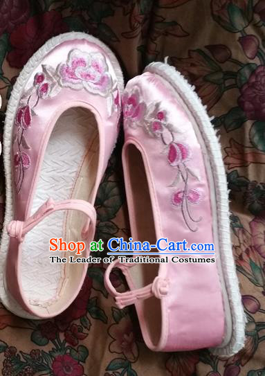 Asian Chinese National Embroidery Pink Shoes Handmade Embroidered Shoes, Traditional China Princess Shoes Hanfu Shoe for Women