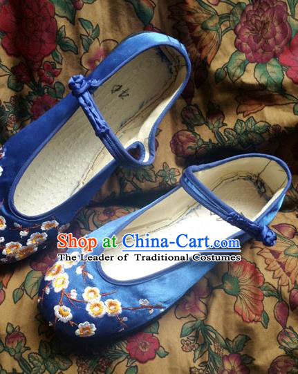 Traditional Chinese National Blue Satin Shoes Embroidered Shoes, China Handmade Shoes Hanfu Embroidery Shoes for Women