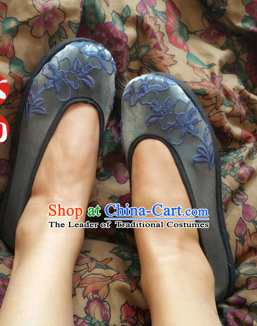 Asian Chinese National Embroidery Grey Shoes Handmade Embroidered Shoes, Traditional China Princess Shoes Hanfu Shoe for Women