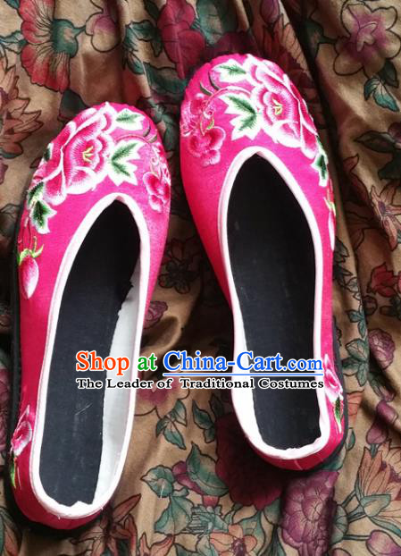 Asian Chinese National Embroidery Peony Wedding Pink Shoes, Traditional China Princess Handmade Embroidered Shoes Hanfu Shoe for Women