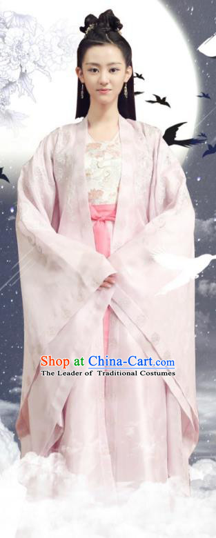 Asian China Northern and Southern Dynasties Princess Costume, Chinese Lost Love In Times Traditional Acient Fairy Embroidered Clothing