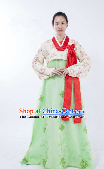 Asian Korean Palace Lady Costume, Traditional Korean Hanbok Clothing for Women