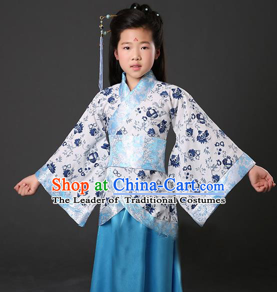 Asian China Ancient Han Dynasty Palace Lady Costume, Traditional Chinese Hanfu Embroidered Blue Curve Bottom Clothing for Kids