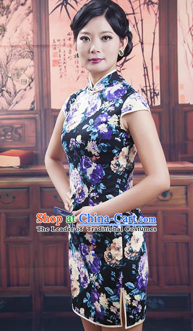 Traditional Ancient Chinese Republic of China Cheongsam, Asian Chinese Chirpaur Black Embroidered Qipao Dress Clothing for Women