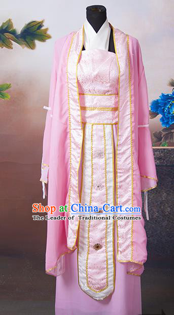 Asian China Ancient Han Dynasty Palace Lady Pink Costume, Traditional Chinese Princess Hanfu Embroidered Clothing for Women