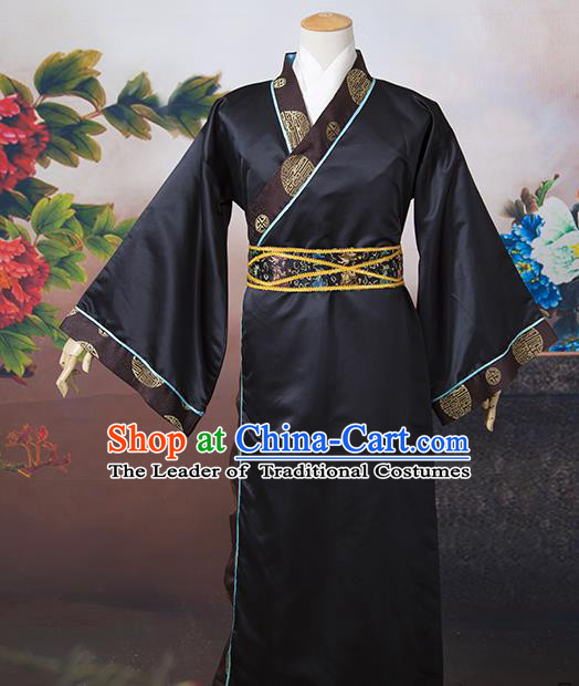 Asian China Ancient Han Dynasty Minister Costume, Traditional Chinese Chancellor Hanfu Embroidered Clothing for Men