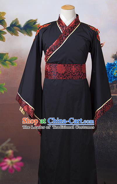 Asian China Ancient Han Dynasty Minister Costume, Traditional Chinese Chancellor Hanfu Embroidered Black Clothing for Men