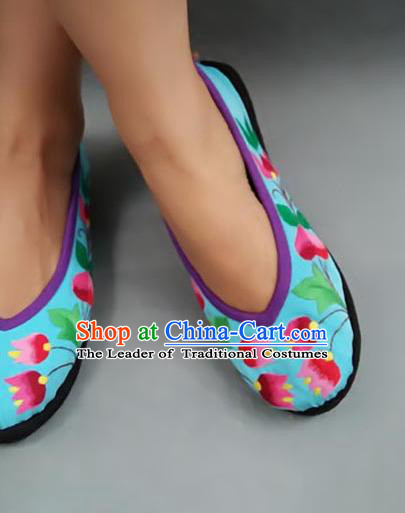 Traditional Chinese National Blue Shoes Embroidered Shoes, China Handmade Shoes Hanfu Embroidery Shoes for Women
