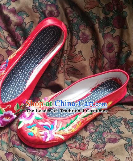 Traditional Chinese National Embroidered Shoes Wedding Red Shoes, China Handmade Shoes Hanfu Embroidery Dragon and Phoenix Shoes for Women