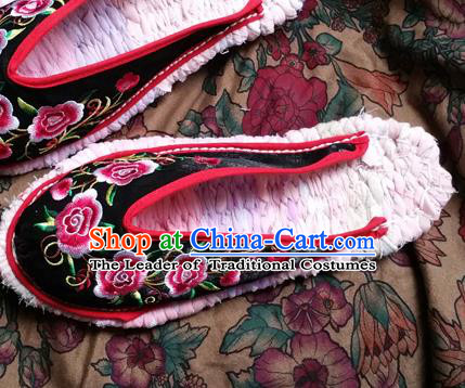 Traditional Chinese National Embroidered Shoes Handmade Black Satin Slippers, China Hanfu Embroidery Flowers Shoes for Women