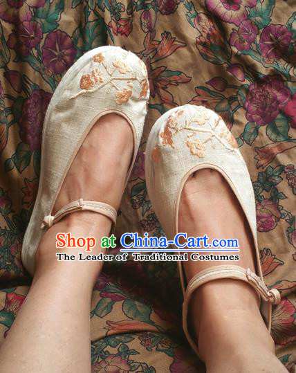 Traditional Chinese National Embroidered Shoes Handmade Linen Shoes, China Hanfu Embroidery Flowers Shoes for Women