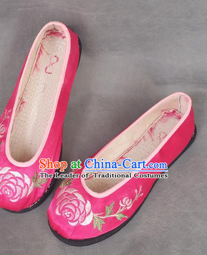 Traditional Chinese National Embroidered Shoes Handmade Pink Satin Wedding Shoes, China Hanfu Embroidery Flowers Shoes for Women