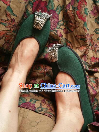 Traditional Chinese National Embroidered Shoes Handmade Green Linen Shoes, China Hanfu Embroidery Shoes for Women