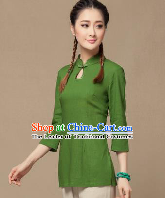 Traditional Chinese National Costume Elegant Hanfu Plated Button Green Linen Shirt, China Tang Suit Slant Opening Upper Outer Garment Cheongsam Blouse for Women
