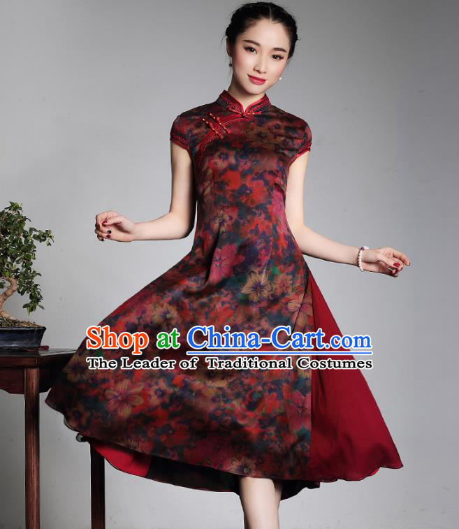 Traditional Chinese National Costume Elegant Hanfu Watered Gauze Silk Cheongsam, China Tang Suit Plated Buttons Chirpaur Dress for Women