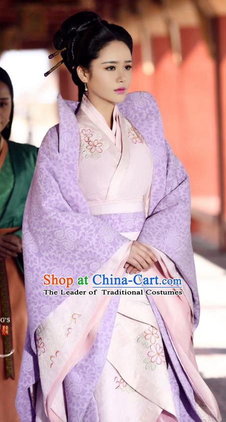 Asian China Qin Dynasty Imperial Concubine Costume and Headpiece Complete Set, Traditional Chinese Ancient Embroidered Clothing for Women