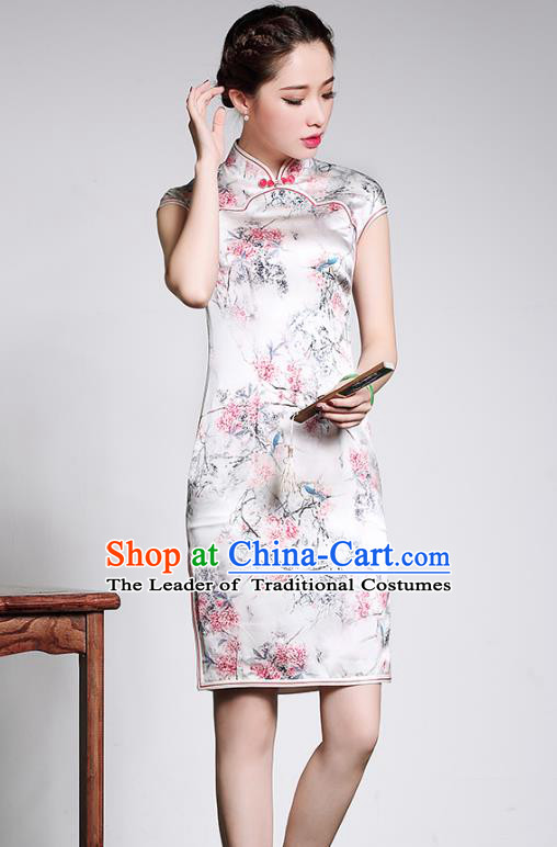 Traditional Chinese National Costume Silk Short Qipao Dress, China Tang Suit Chirpaur Cheongsam for Women