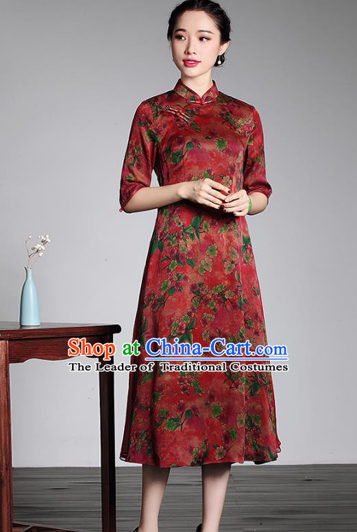 Traditional Chinese National Costume Elegant Hanfu Plated Button Mandarin Qipao, China Tang Suit Watered Gauze Cheongsam for Women