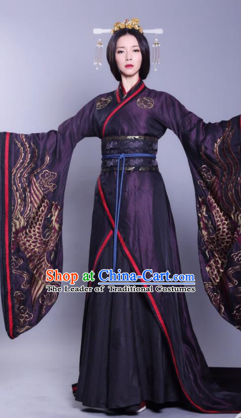 Asian China Han Dynasty Imperial Empress Hanfu Costume and Headpiece Complete Set, Traditional Chinese Ancient Palace Queen Clothing for Women