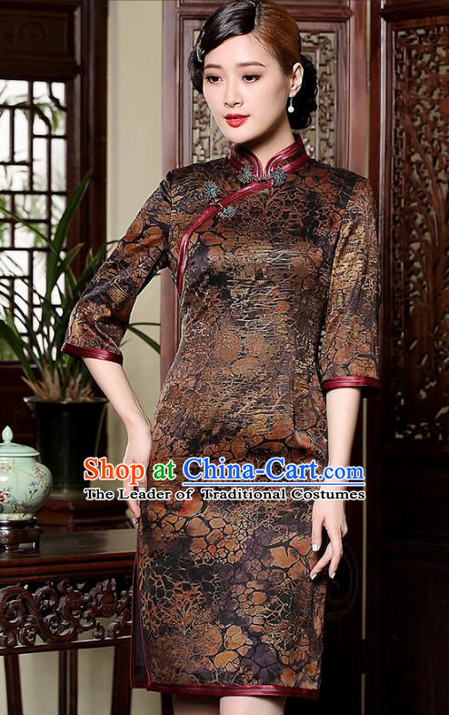 Traditional Chinese National Costume Plated Buttons Brown Silk Qipao Dress, Top Grade Tang Suit Stand Collar Watered Gauze Cheongsam for Women