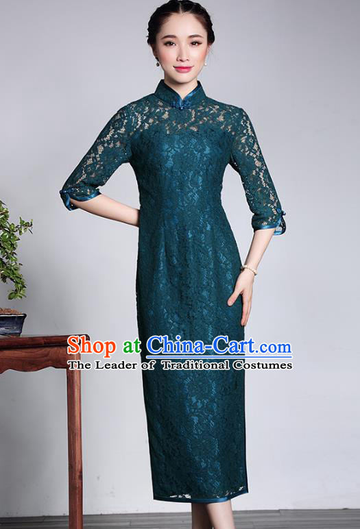 Traditional Ancient Chinese Young Lady Retro Cheongsam Peacock Green Lace Dress, Asian Republic of China Qipao Tang Suit Clothing for Women