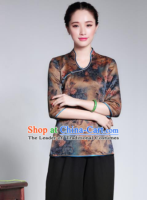 Traditional Ancient Chinese Young Lady Retro Cheongsam Blouse, Asian Republic of China Qipao Tang Suit Upper Outer Garment for Women