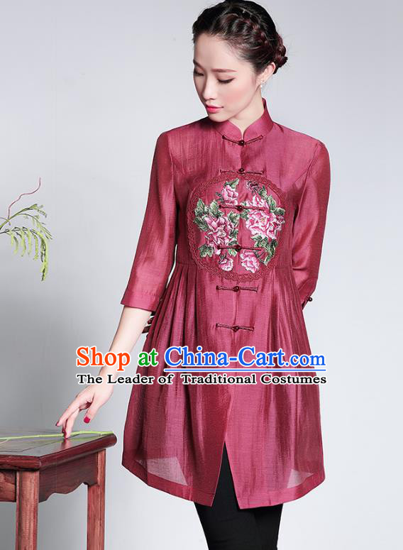 Traditional Ancient Chinese Young Lady Retro Cheongsam Embroidered Coats, Asian Republic of China Qipao Tang Suit Upper Outer Garment Jacket for Women
