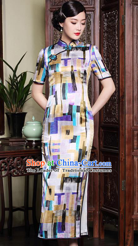Traditional Chinese National Costume Qipao Printing Silk Dress, Top Grade Tang Suit Stand Collar Cheongsam for Women