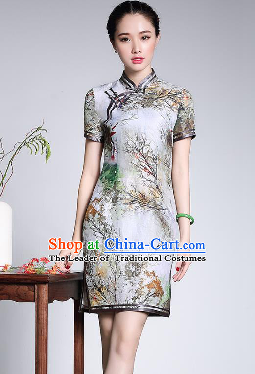 Traditional Chinese National Costume Qipao Printing Lotus Silk Dress, Top Grade Tang Suit Stand Collar Cheongsam for Women