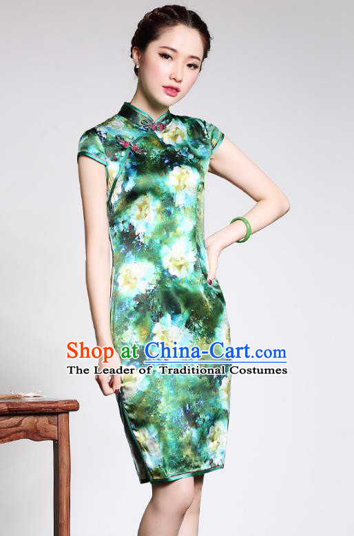Traditional Ancient Chinese Young Lady Printing Green Silk Cheongsam, Republic of China Stand Collar Qipao Dress Tang Suit Clothing for Women