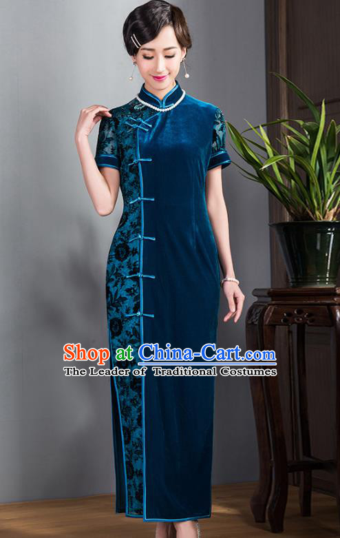 Traditional Ancient Chinese Young Lady Blue Velvet Cheongsam, Republic of China Stand Collar Qipao Tang Suit Dress for Women