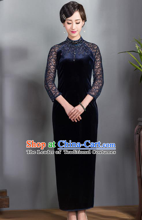 Traditional Ancient Chinese Young Lady Plated Buttons Blue Velvet Cheongsam, Asian Republic of China Lace Qipao Tang Suit Dress for Women