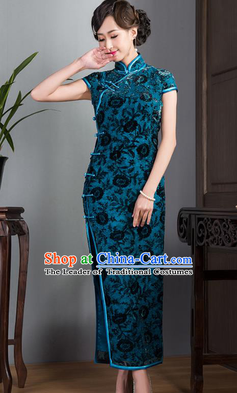 Traditional Ancient Chinese Young Lady Plated Buttons Blue Velvet Cheongsam, Asian Republic of China Qipao Tang Suit Dress for Women