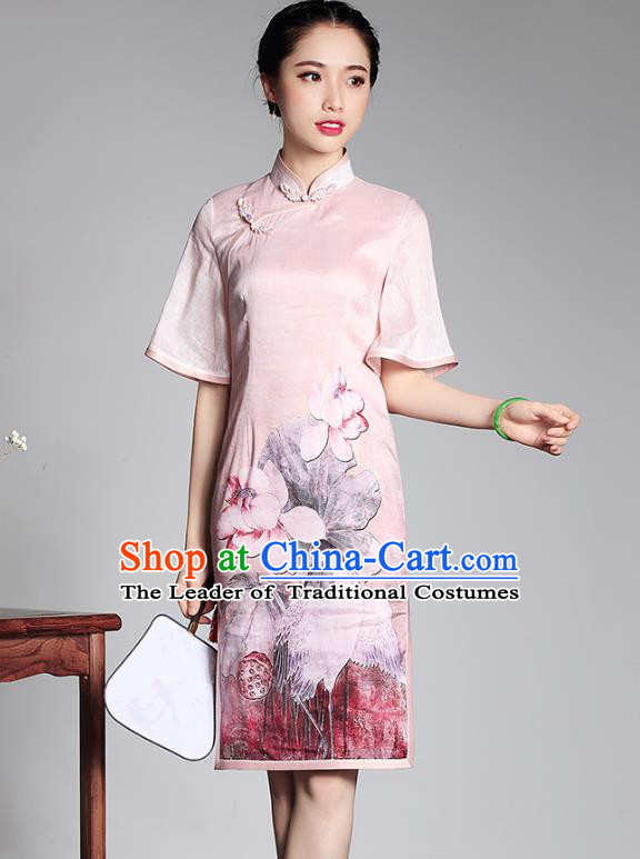 Traditional Ancient Chinese Young Lady Plated Buttons Printing Cheongsam, Asian Republic of China Pink Silk Qipao Tang Suit Dress for Women
