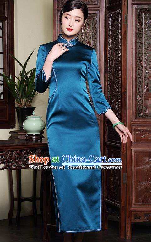 Traditional Ancient Chinese Young Lady Blue Silk Cheongsam, Republic of China Stand Collar Qipao Tang Suit Dress for Women