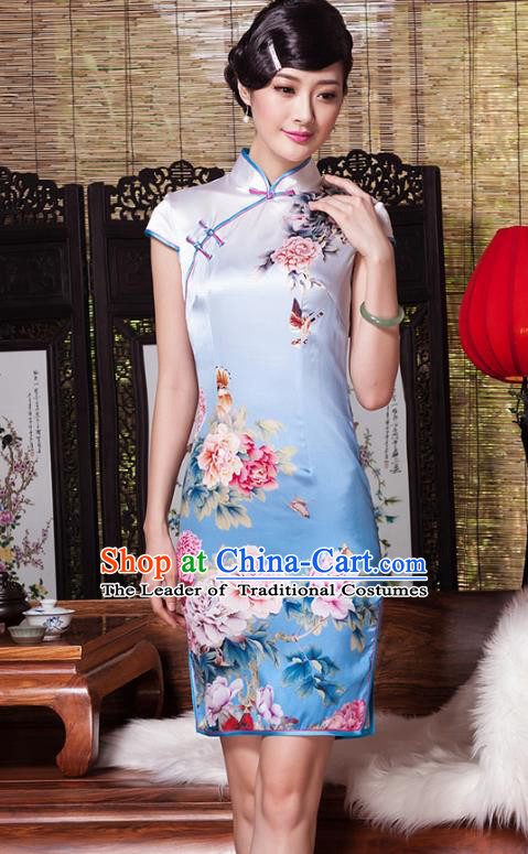 Traditional Ancient Chinese Young Lady Plated Buttons Painting Peony Blue Cheongsam, Asian Republic of China Silk Qipao Tang Suit Dress for Women