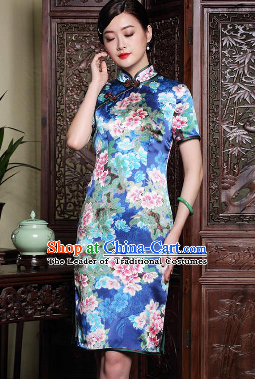 Traditional Ancient Chinese Young Lady Plated Buttons Printing Flowers Cheongsam, Asian Republic of China Blue Silk Qipao Dress Tang Suit Clothing for Women