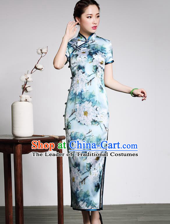 Traditional Ancient Chinese Young Lady Plated Buttons Printing Blue Cheongsam, Asian Republic of China Silk Qipao Tang Suit Dress for Women