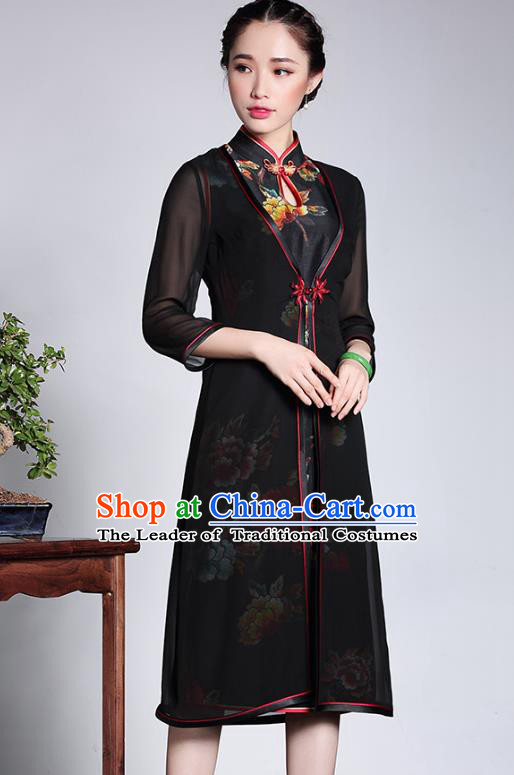 Traditional Ancient Chinese Young Lady Retro Black Silk Cheongsam Coats, Asian Republic of China Qipao Dust Coat Tang Suit Upper Outer Garment for Women