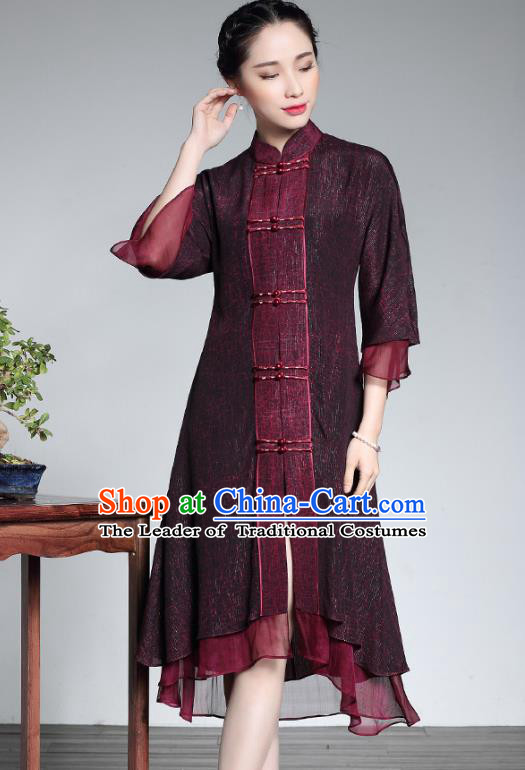 Traditional Ancient Chinese Young Lady Retro Purple Silk Cheongsam Coats, Asian Republic of China Qipao Dust Coat Tang Suit Upper Outer Garment for Women