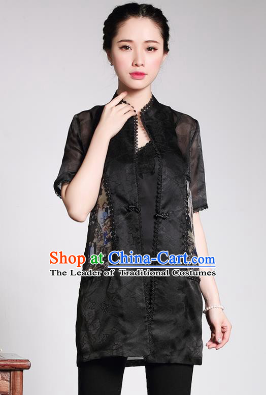 Traditional Ancient Chinese Young Lady Retro Black Silk Cheongsam Blouse, Asian Republic of China Qipao Tang Suit  Upper Outer Garment  for Women