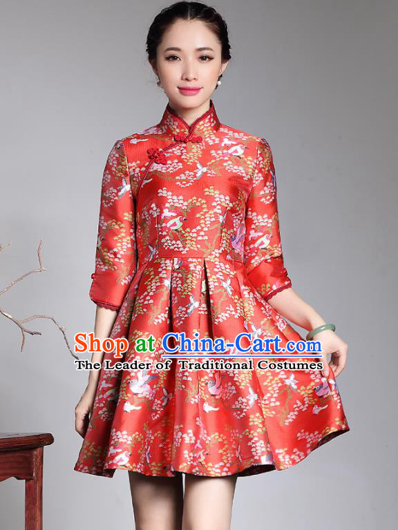Traditional Ancient Chinese Young Lady Retro Red Brocade Cheongsam, Asian Republic of China Qipao Tang Suit Dress for Women