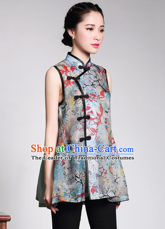 Traditional Ancient Chinese Young Lady Retro Organza Cheongsam Blouse, Asian Republic of China Qipao Tang Suit Upper Outer Garment for Women