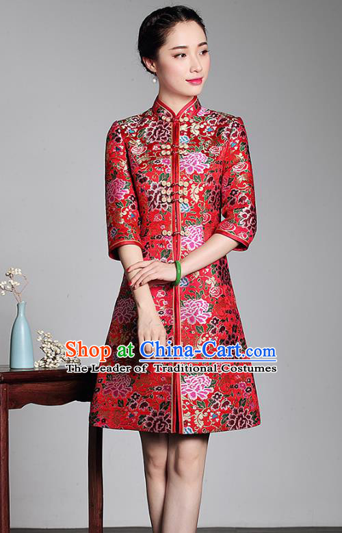 Traditional Ancient Chinese Young Lady Retro Stand Collar Red Brocade Cheongsam Coat, Asian Republic of China Qipao Tang Suit Clothing for Women