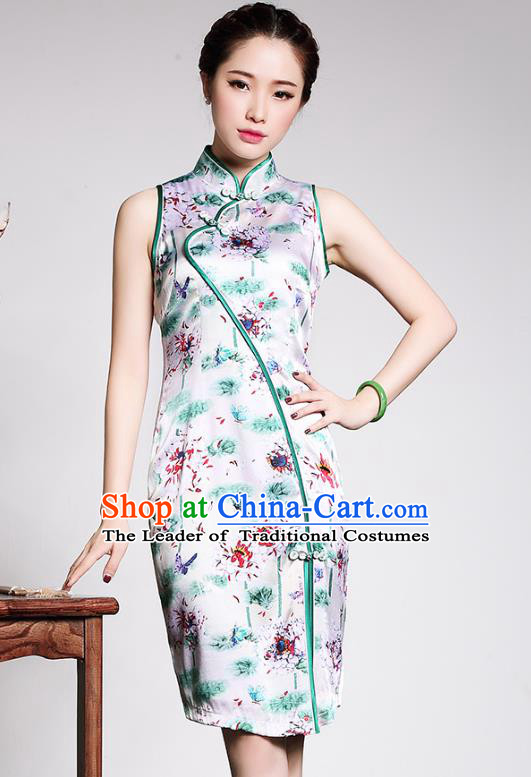 Traditional Ancient Chinese Young Lady Retro Stand Collar Printing Silk Cheongsam, Asian Republic of China Qipao Tang Suit Dress for Women